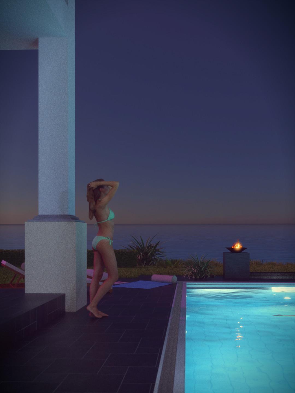 SketchUp + Thea Render  Seagrove Beach House: Poolside 05 2pt Vert 43 Night D Glare AF Lumina 1080 × 1440 Presto MC Bucket