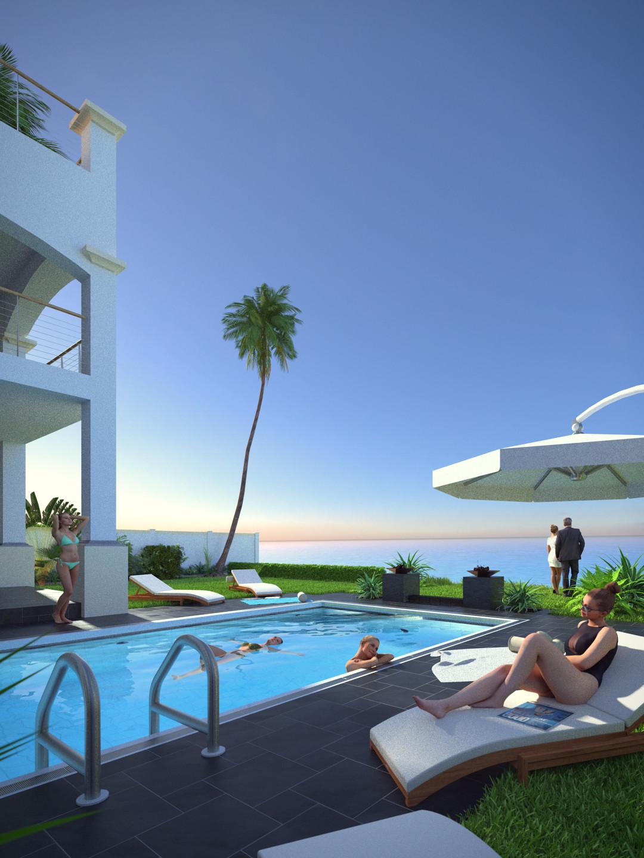 SketchUp + Thea Render  Seagrove Beach House: Poolside 01 Vertical 1080x1440 C Lumina 1080 × 1440 Presto MC Bucket
