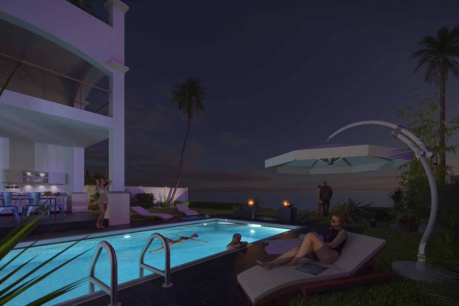 SketchUp + Thea Render  Seagrove Beach House: Poolside 02 3-2 Night A Glare Kevin 1620 × 1080 Presto MC Bucket