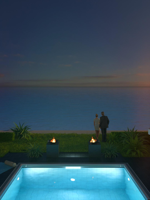 SketchUp + Thea Render  Seagrove Beach House: Poolside 04 2pt Vertical 4-3 Night A Glare Forward 1080 × 1440 Presto MC Bucket