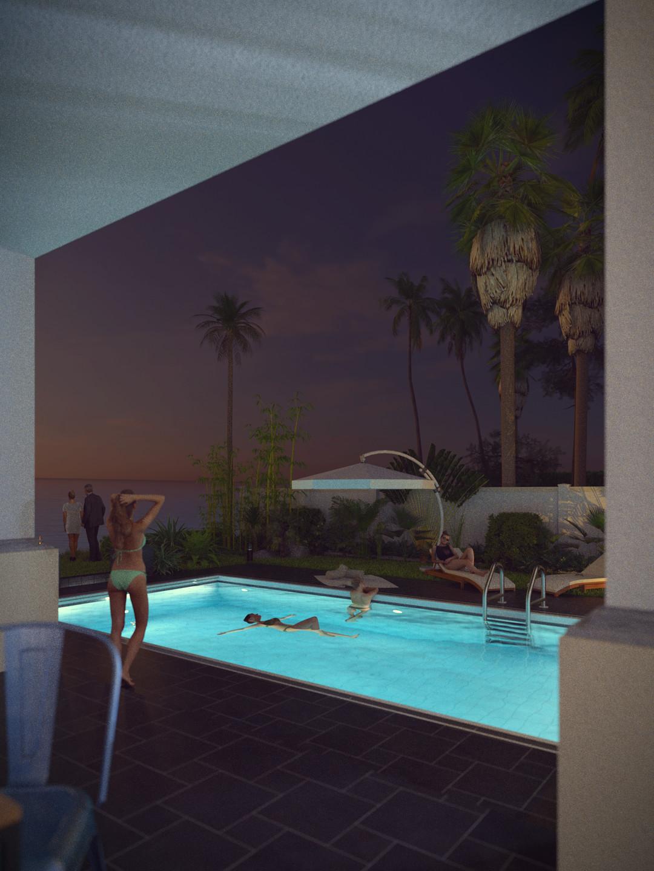 SketchUp + Thea Render  Seagrove Beach House: Poolside 6A Vertical 4-3 Night C Lumina 1080 × 1440 Presto MC Bucket