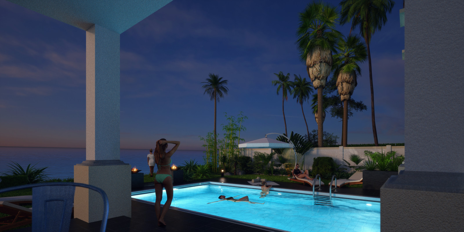 SketchUp + Thea Render  Seagrove Beach House: Poolside 6B Night B Glare Doris 2160 × 1080 Presto MC Bucket