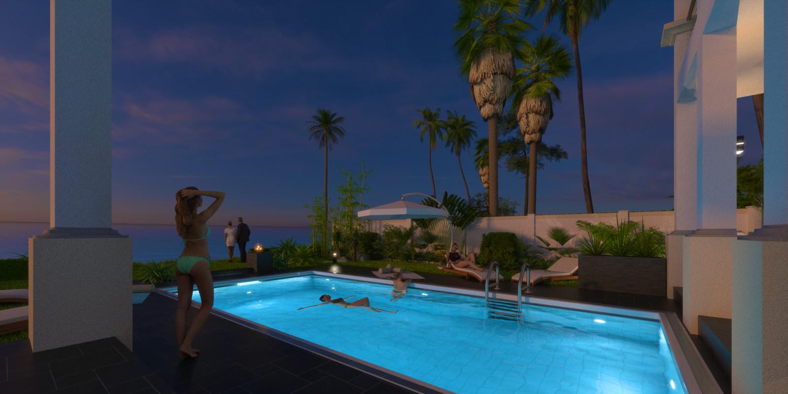 SketchUp + Thea Render  Seagrove Beach House: Poolside 6C Night B Glare Samantha 2160 × 1080 Presto MC Bucket