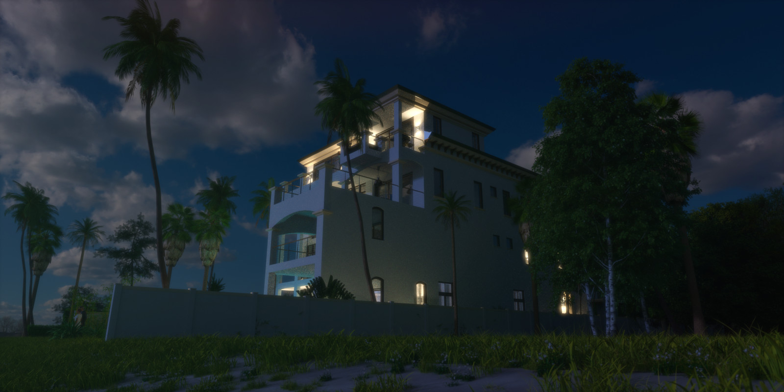 SketchUp + Thea Render  Seagrove Beach House: Scene 3 Night B Forward 2160 × 1080 Presto MC Bucket  HDR used (HQ version) by HDRI-SKIES http://hdri-skies.com/shop/hdri-sky-162/