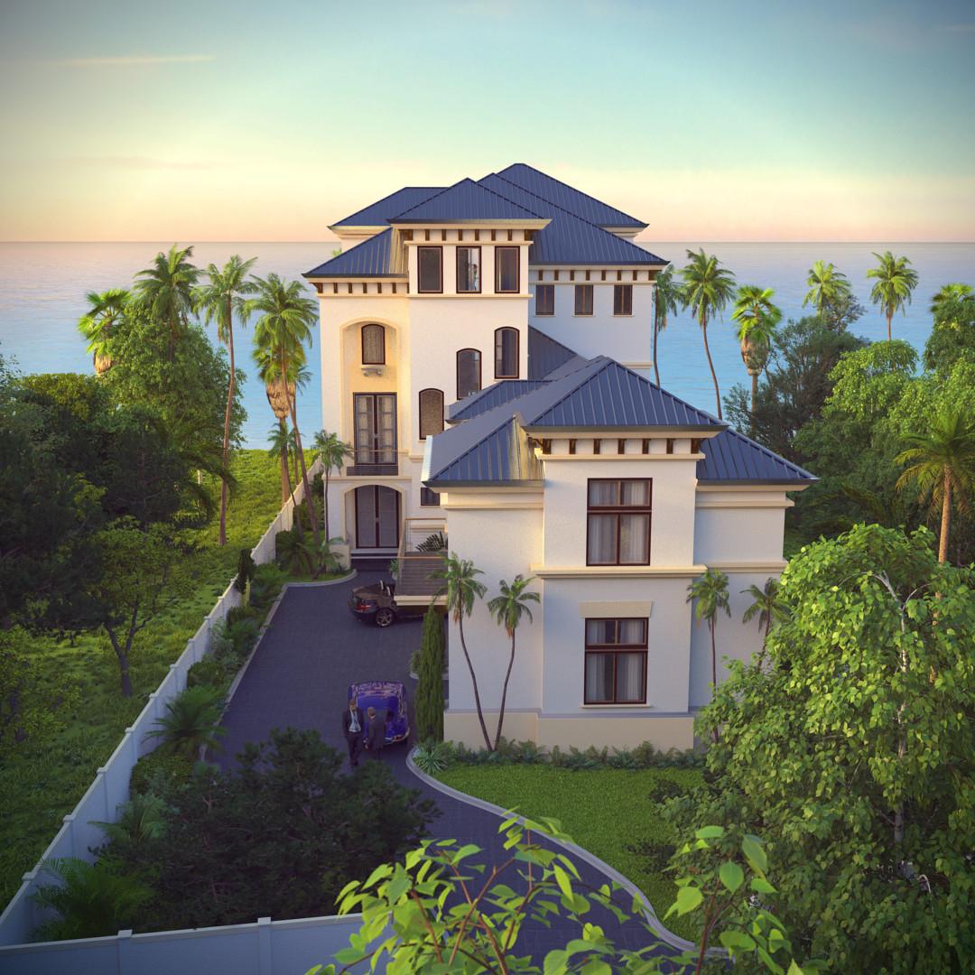 SketchUp + Thea Render  Seagrove Beach House: Scene 4 Vertical B Lumina 1080 × 1080 Presto MC Bucket