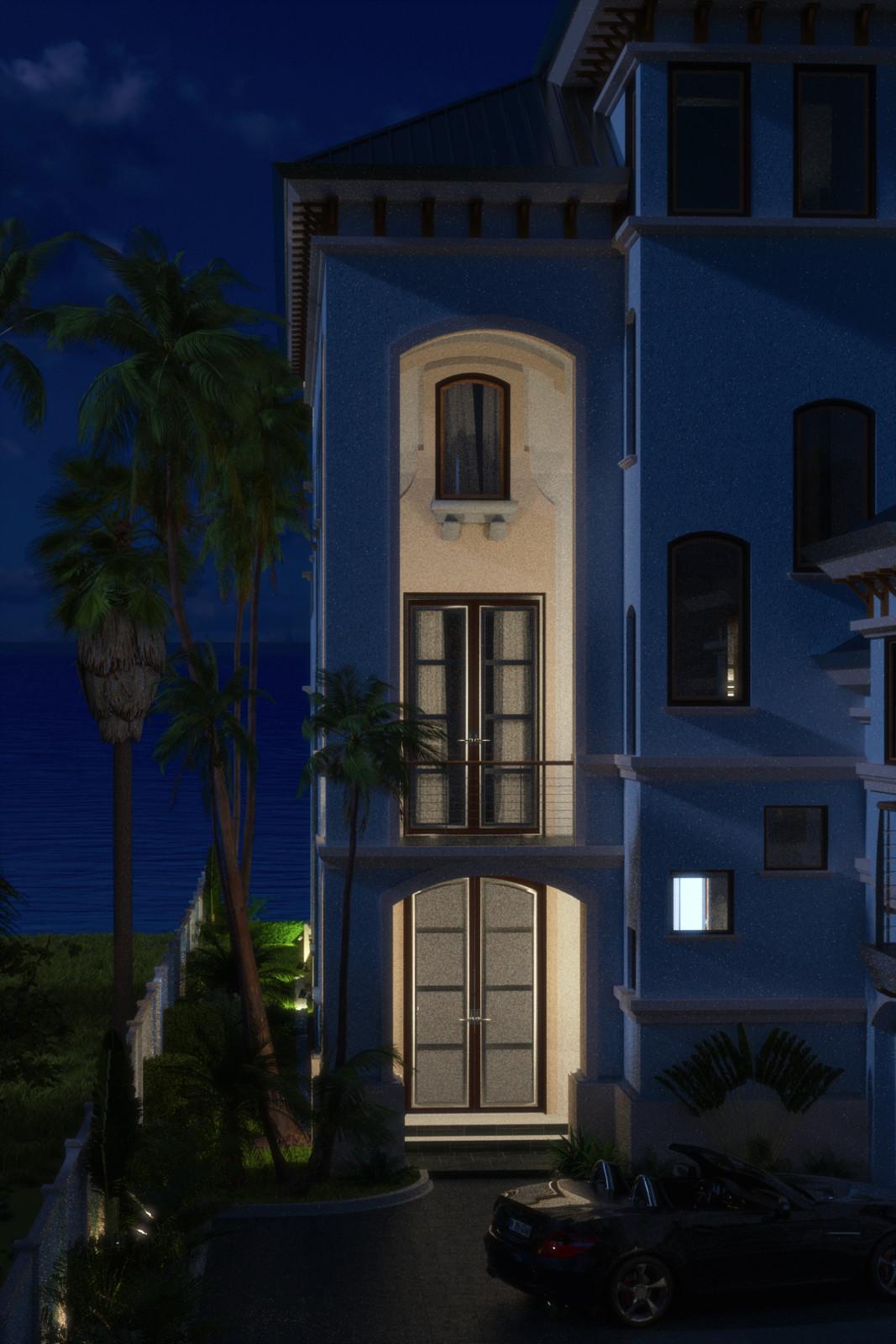 SketchUp + Thea Render  Seagrove Beach House: Front Entrance Vertical 2pt Night B Julia 1080 × 1620 Presto MC Bucket