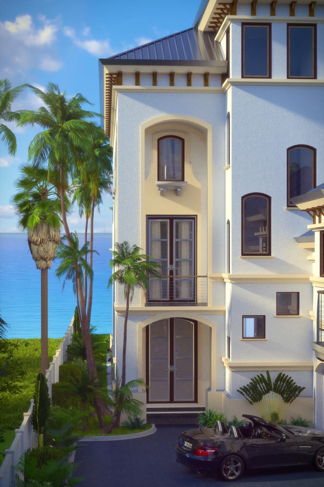 SketchUp + Thea Render  Seagrove Beach House: Front Entrance Vertical 2pt A Lumina Corn 1080 × 1620 Presto MC Bucket
