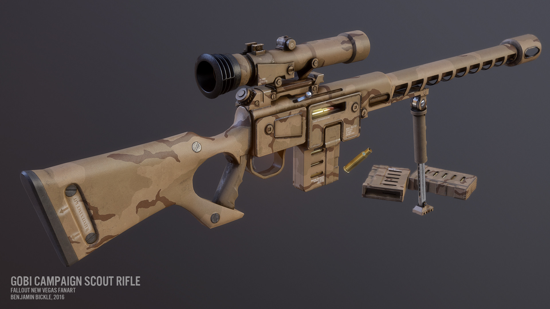 ArtStation - Fallout DKS-501 Sniper Rifle, Ben Bickle