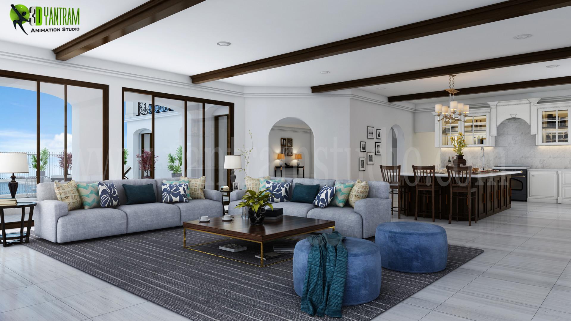 Artstation Modern 3d Living Room And Kitchen Design Chicago Yantram Architectural Design Studio