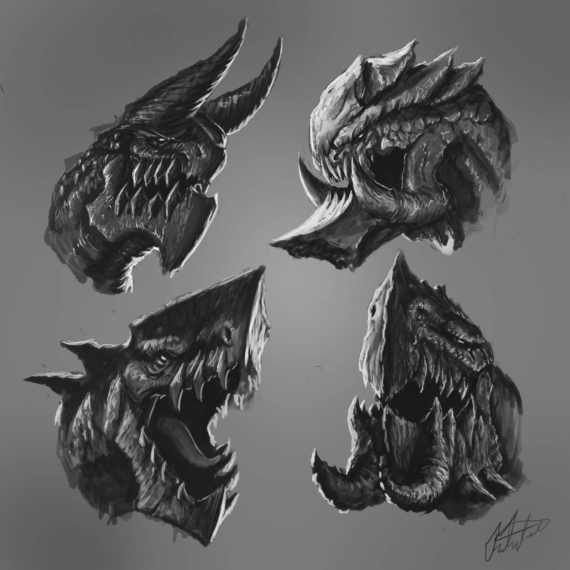 fred almén dragon head sketches