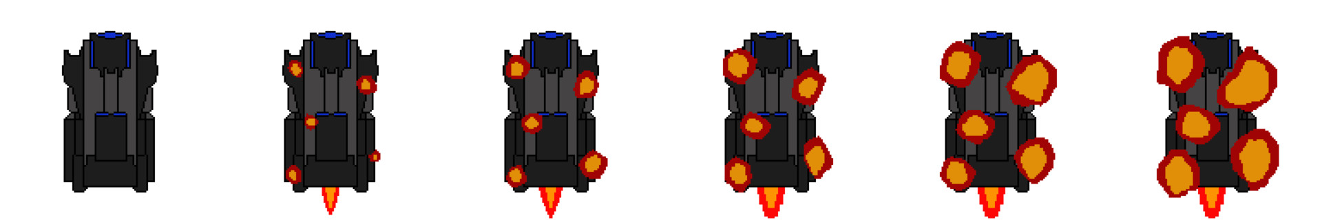 Early draft for a sprite sheet just for the enemy explosion animations.