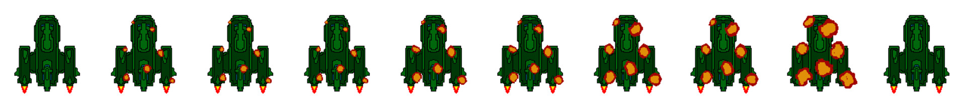 Early draft for a sprite sheet just for the player explosion animations.