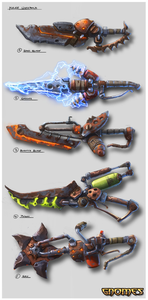 Max hugo gnomes melee weapons concept