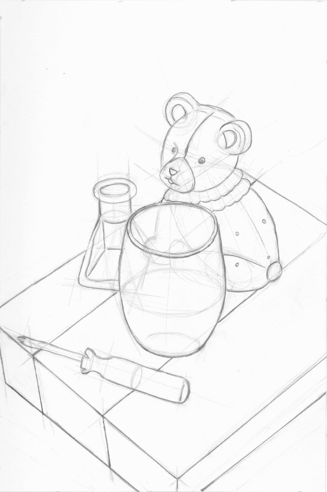 A bear bank, incense oil stick holder, empty candle jar, and a screwdriver on top of a box