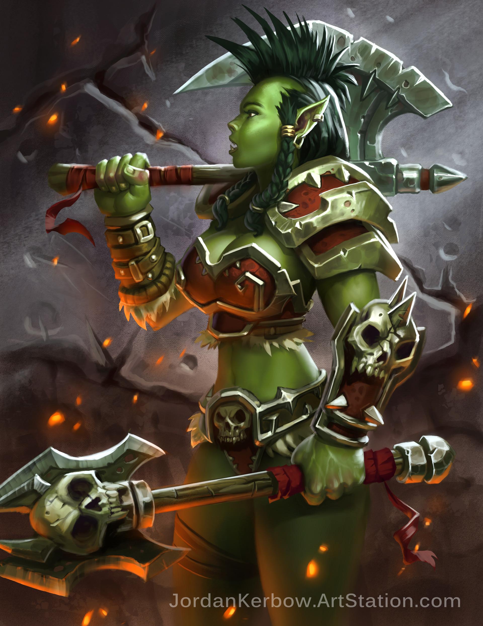 artstation world of warcraft female orc warrior jordan kerbow