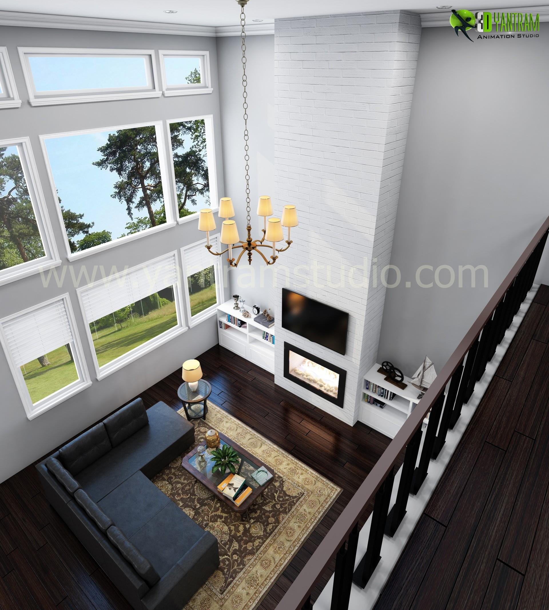 Artstation Creative Modern 3d Living Room Rendering Yantram Architectural Design Studio