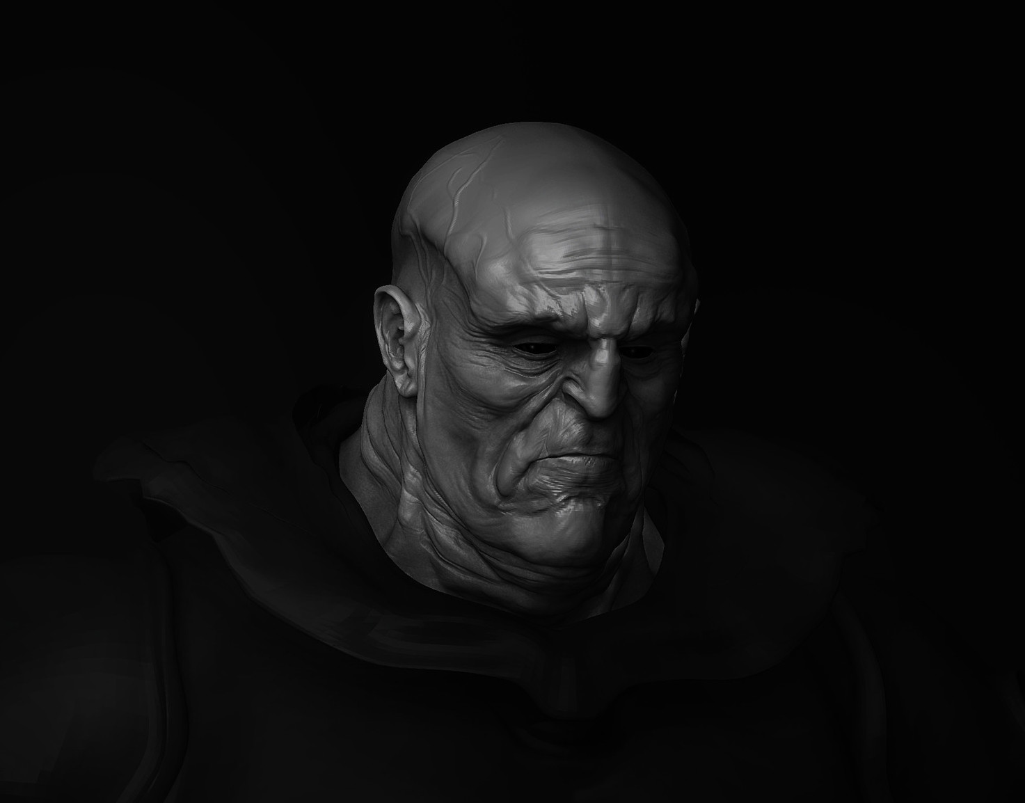 render Z Brush first  study about the  wrinkles.