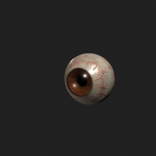 a normal map is created for the veins on the eyeball. This is a little too much, but shows the normal map in action.