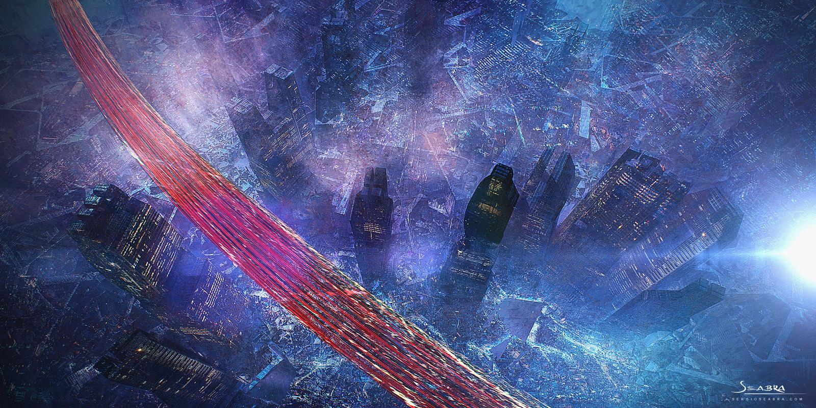 sci fi city night shot
