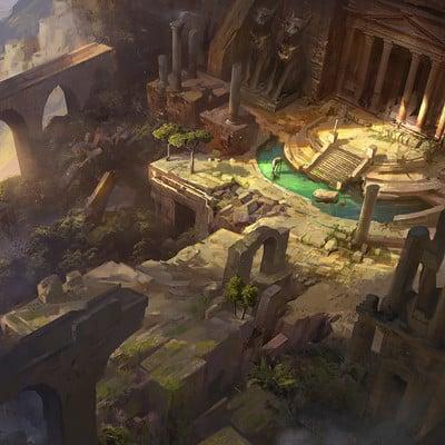 Olabukoo yu ruins matte painting 01