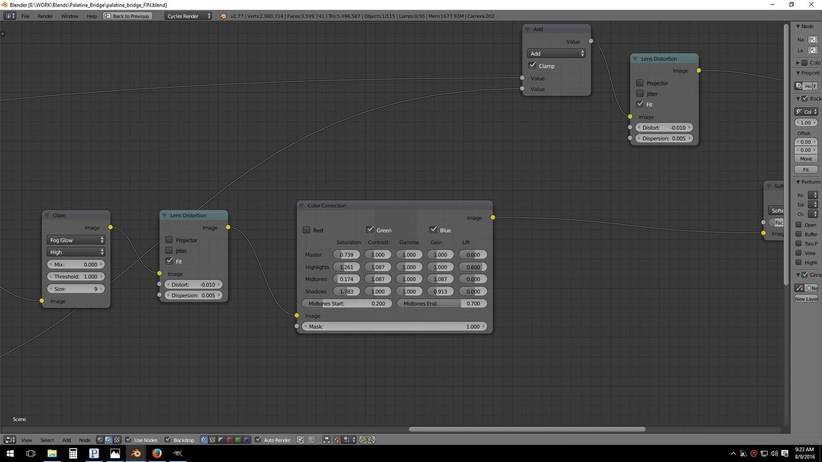 Post-Production node set-up, color correction (Blender)