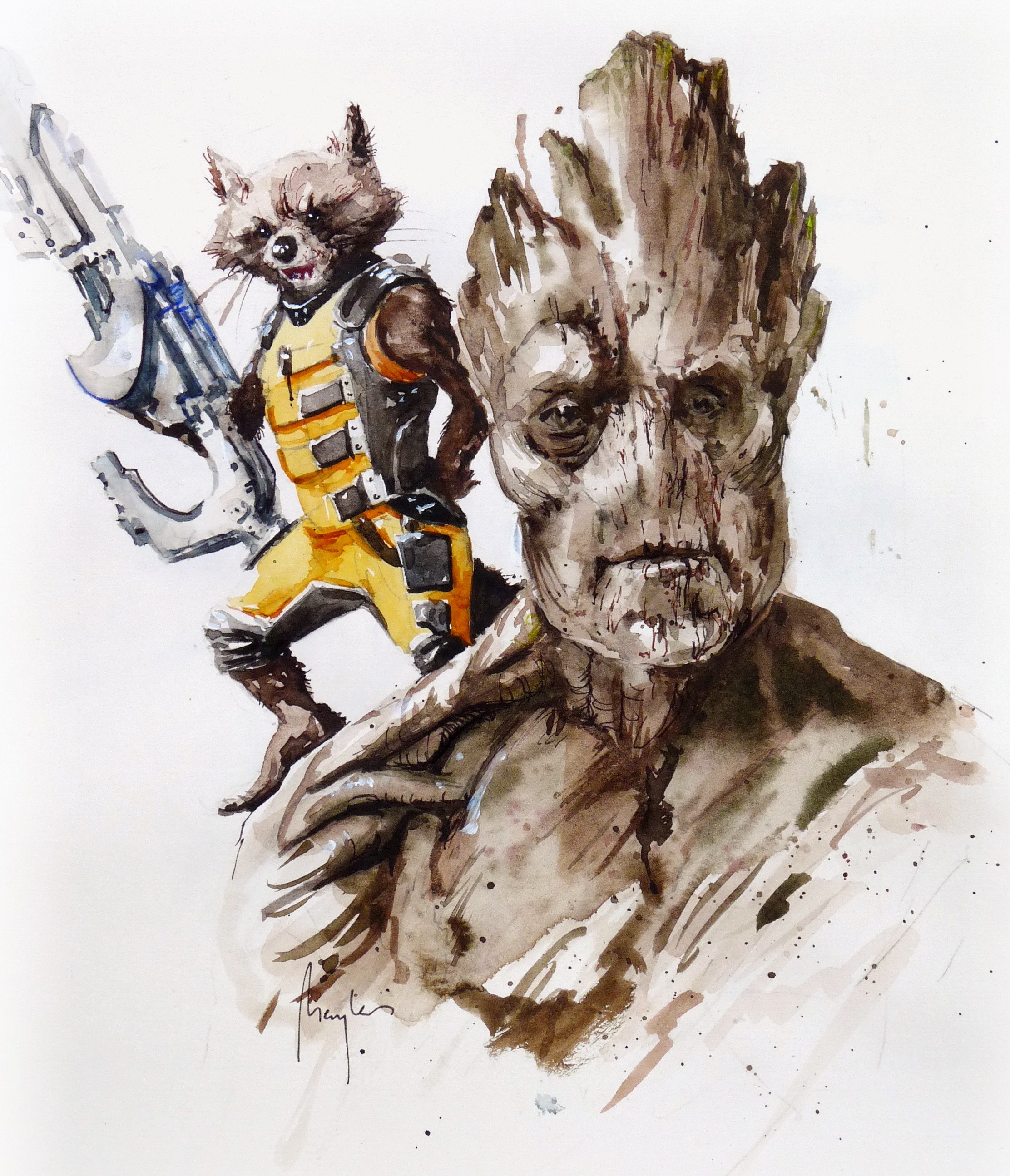Rocket Racoon and Groot