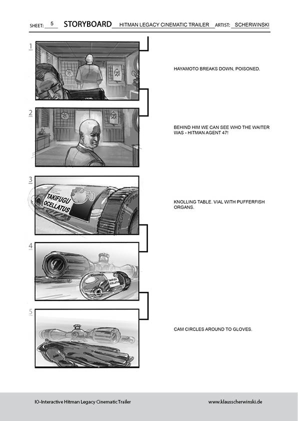 Artstation  Hitman Legacy Cinematic Trailer Storyboards Klaus