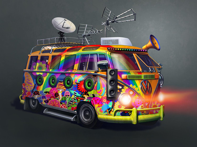 Resultado de imagem para hippie radio van