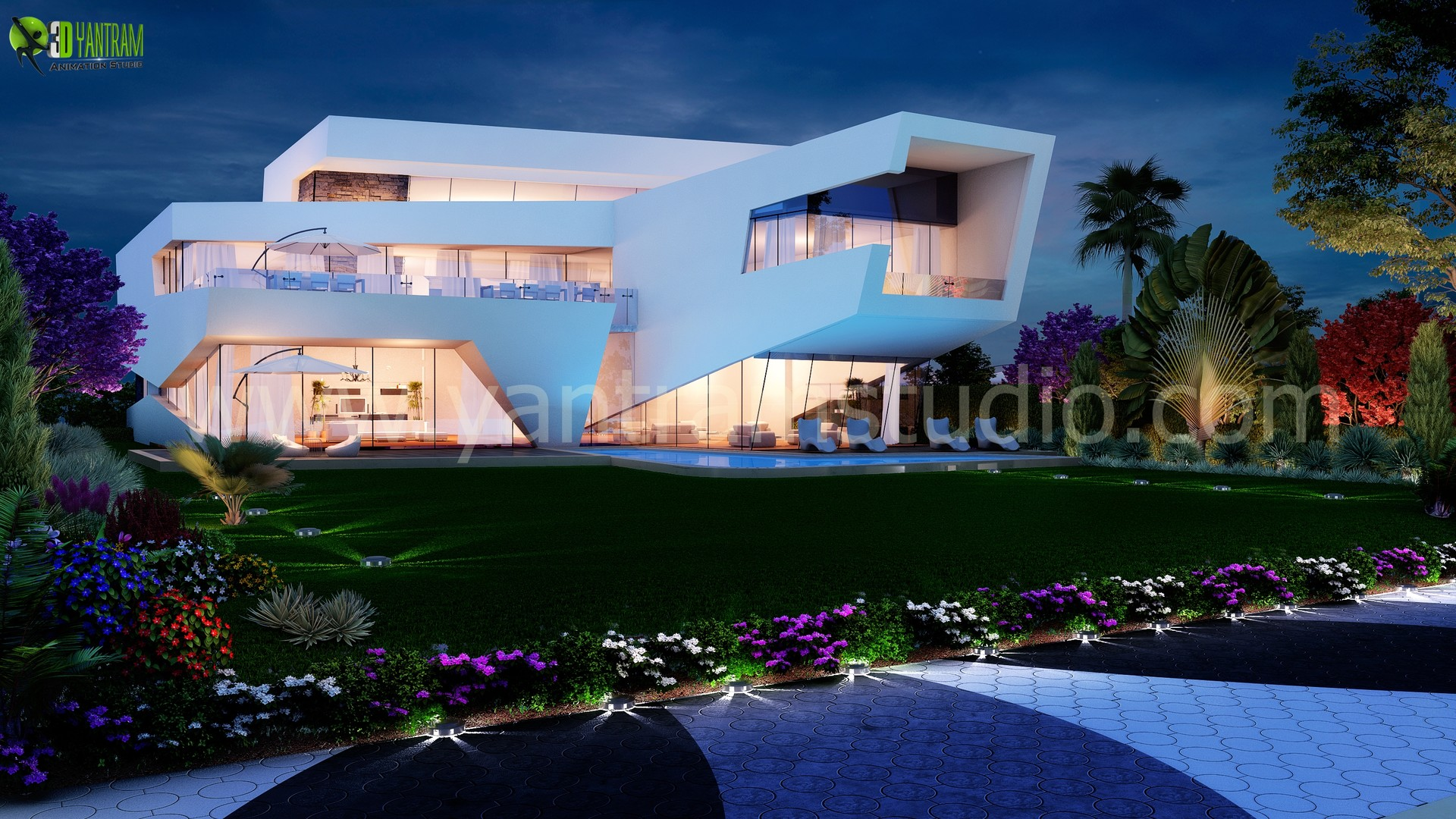 Yantram Studio Ultra Modern 3d Home Exterior Design Rendering Usa