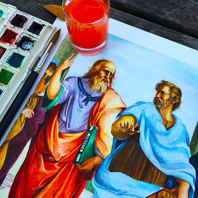 Yavuz unlu 007 i love watercolor socrates platon 01