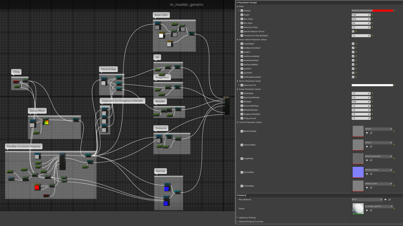 Master material used for most props (left) with an example material instance (right) showing all available options