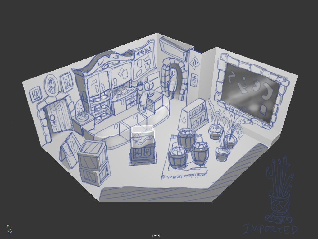 Initial concept, drawn over screenshots of Maya. The store layout and individual props are based on earlier concept sketches in my sketchbook