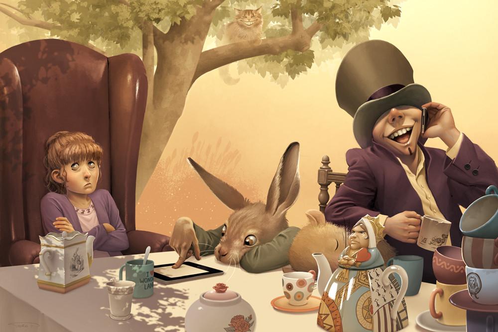 Illustration personnelle sur le thème d'Alice au Pays des Merveilles / Personnal artwork based on Alice In Wonderland