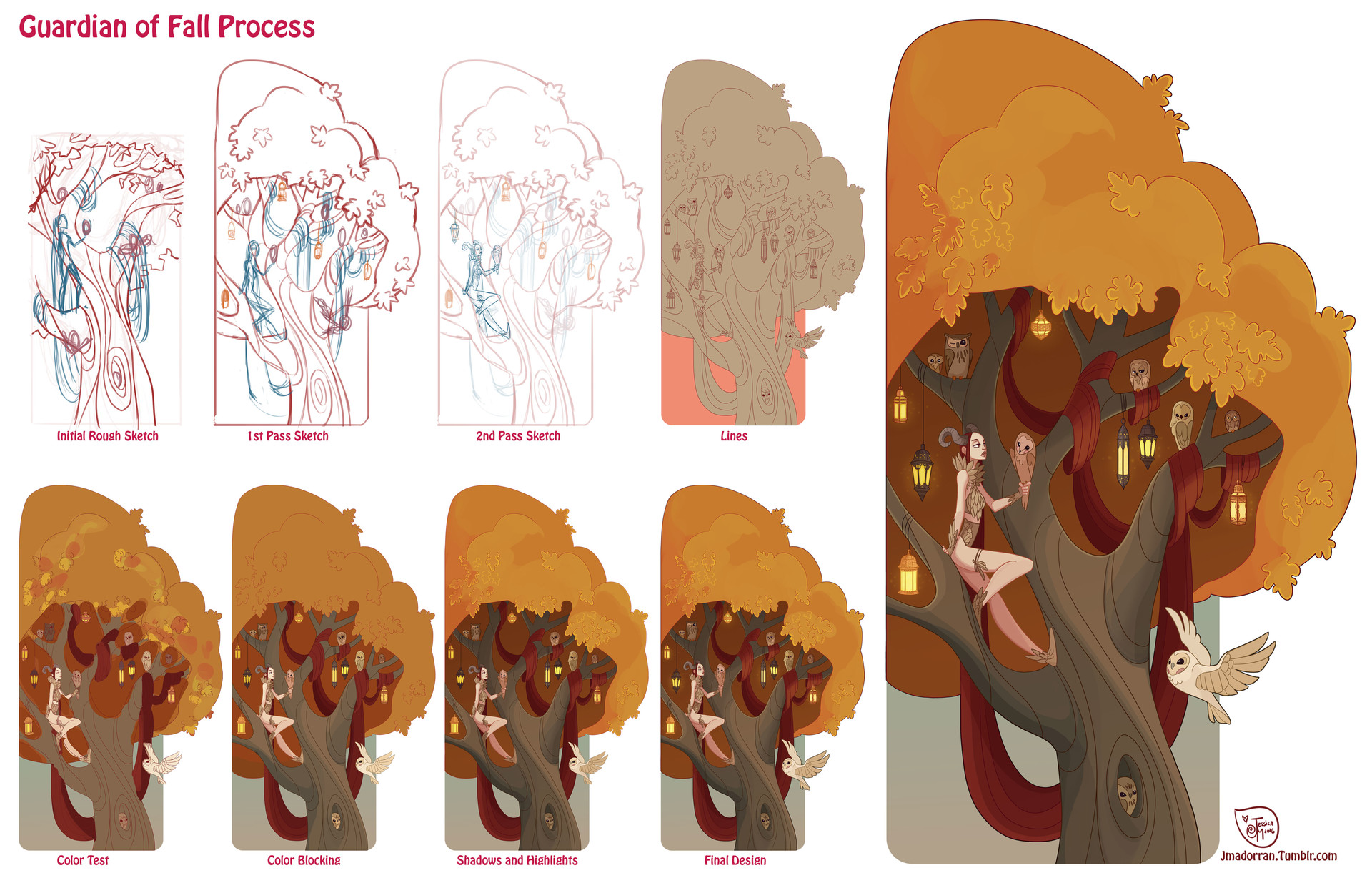 Jessica madorran character design fall tree process 2016