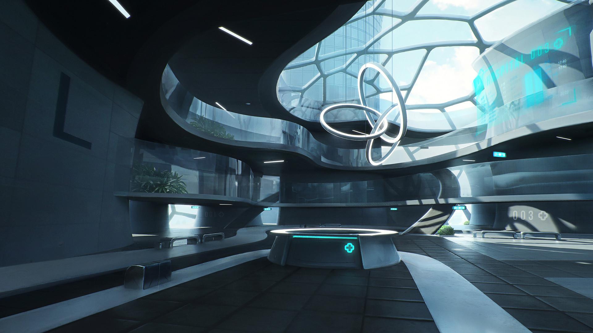 artstation futuristic hospital nikolay razuev