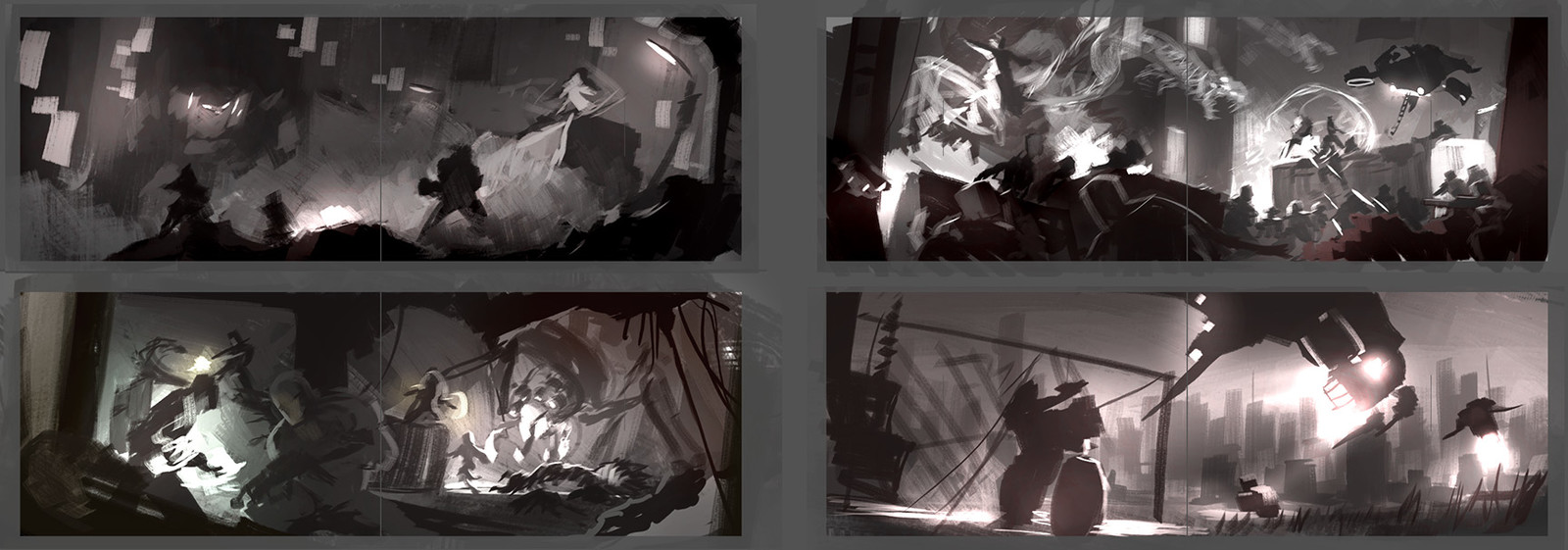 I did a lot of sketching trying to find compositions that would work individually and a set.