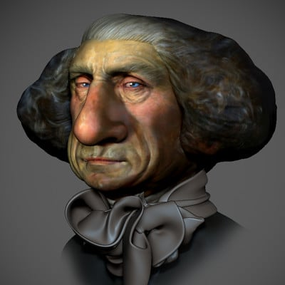 3D Sculpt inspired by a 2D caricature of George washington by Thomas Fluharty