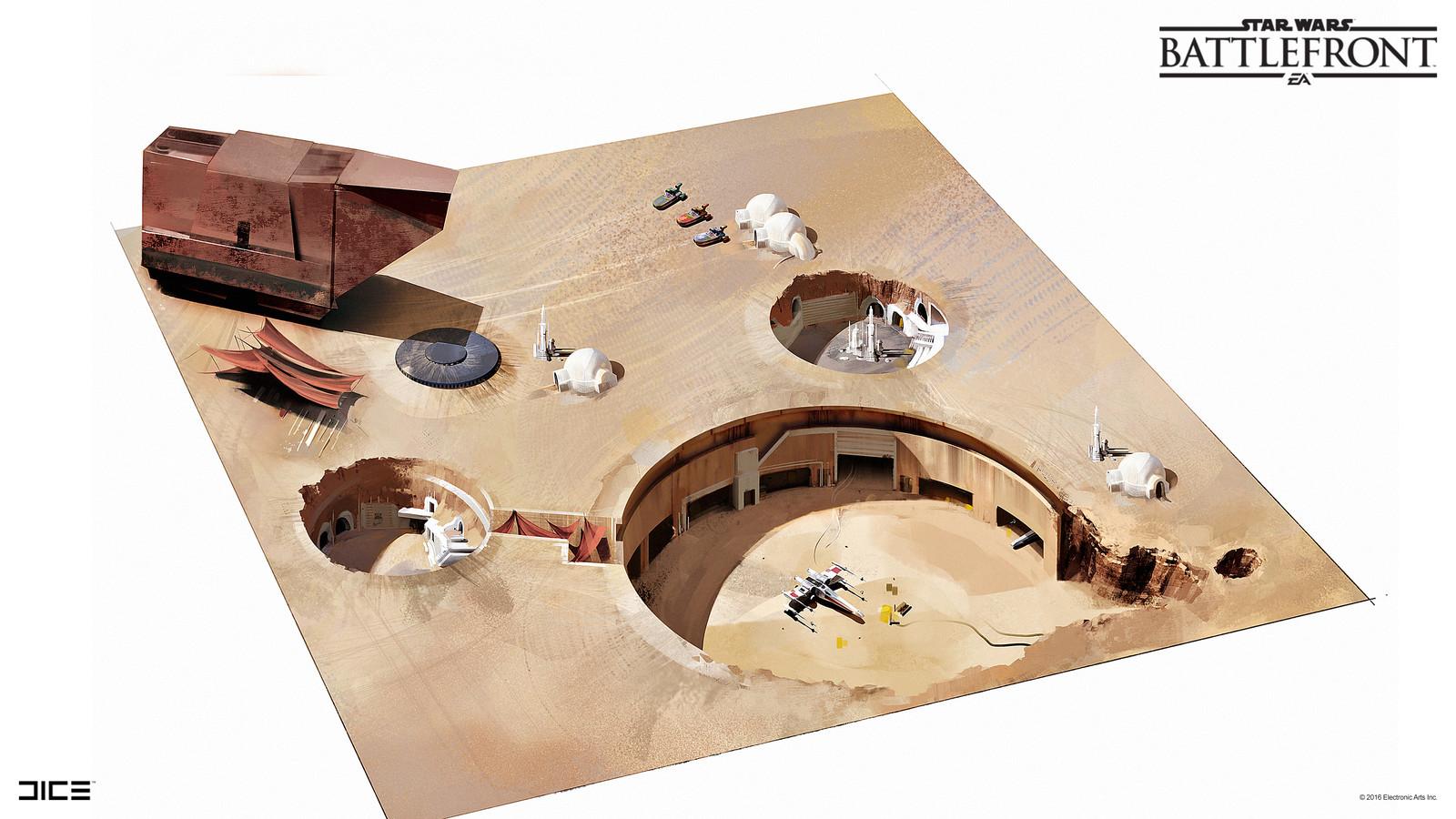 Tatooine Concept Art for the 2015 Star Wars Battlefront game. (2014)