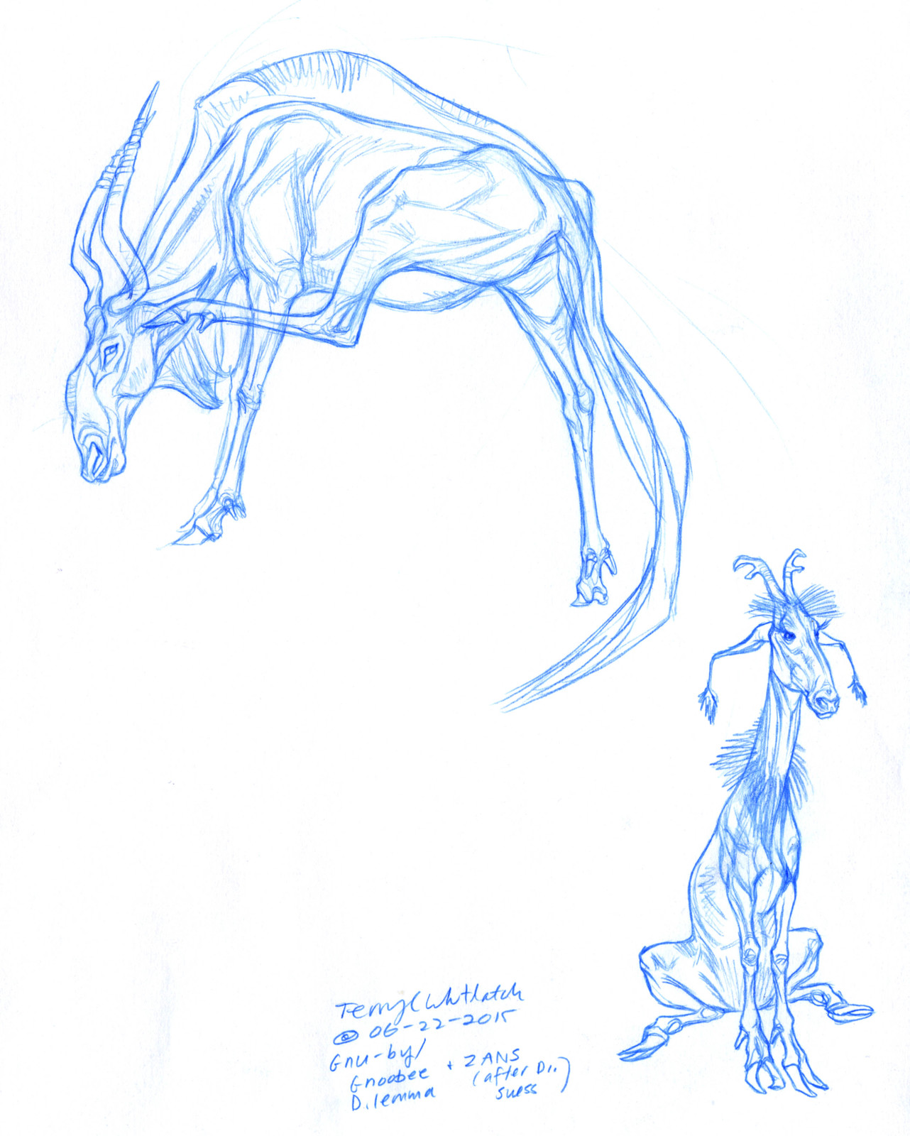 Creature Design step 1--the Gack, after Dr. Suess