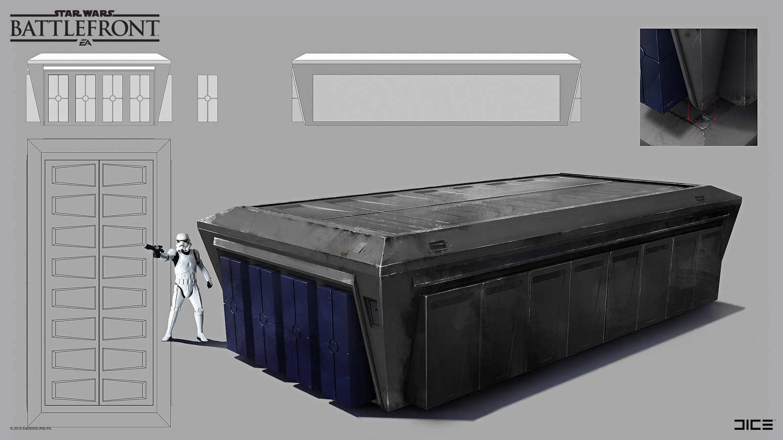 Imperial container on Sullust Concept Art t for the 2015 Star Wars Battlefront game. (2014)