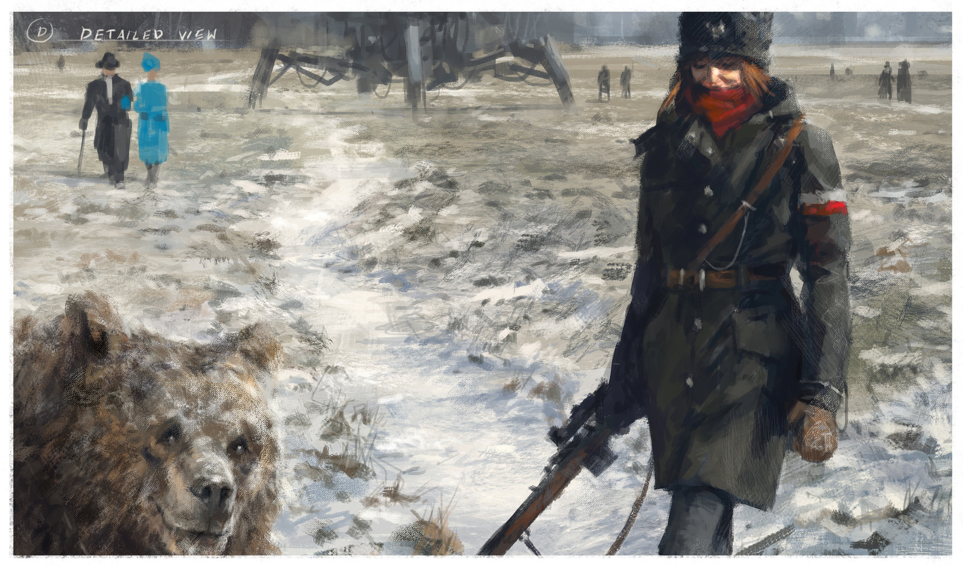 Jakub rozalski 1920 first snow blonie process0d1