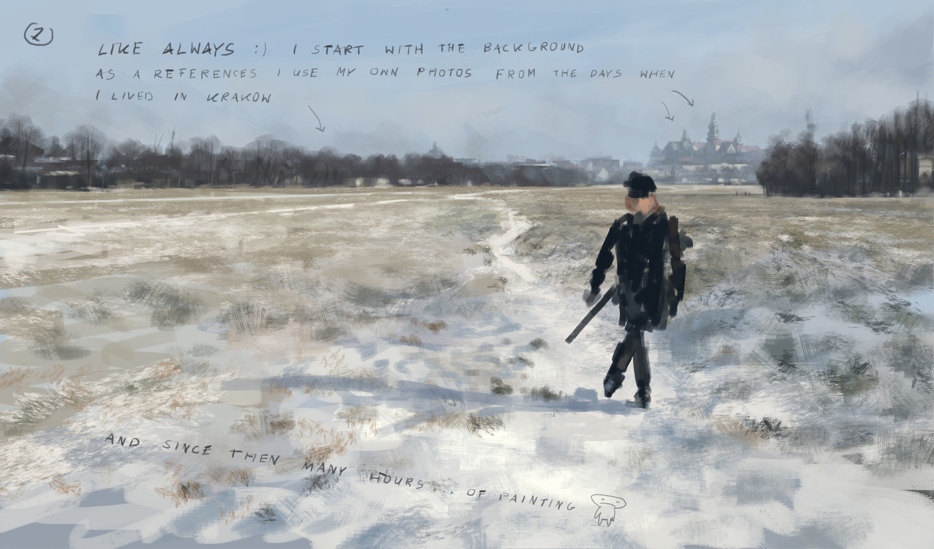 Jakub rozalski 1920 first snow blonie process02