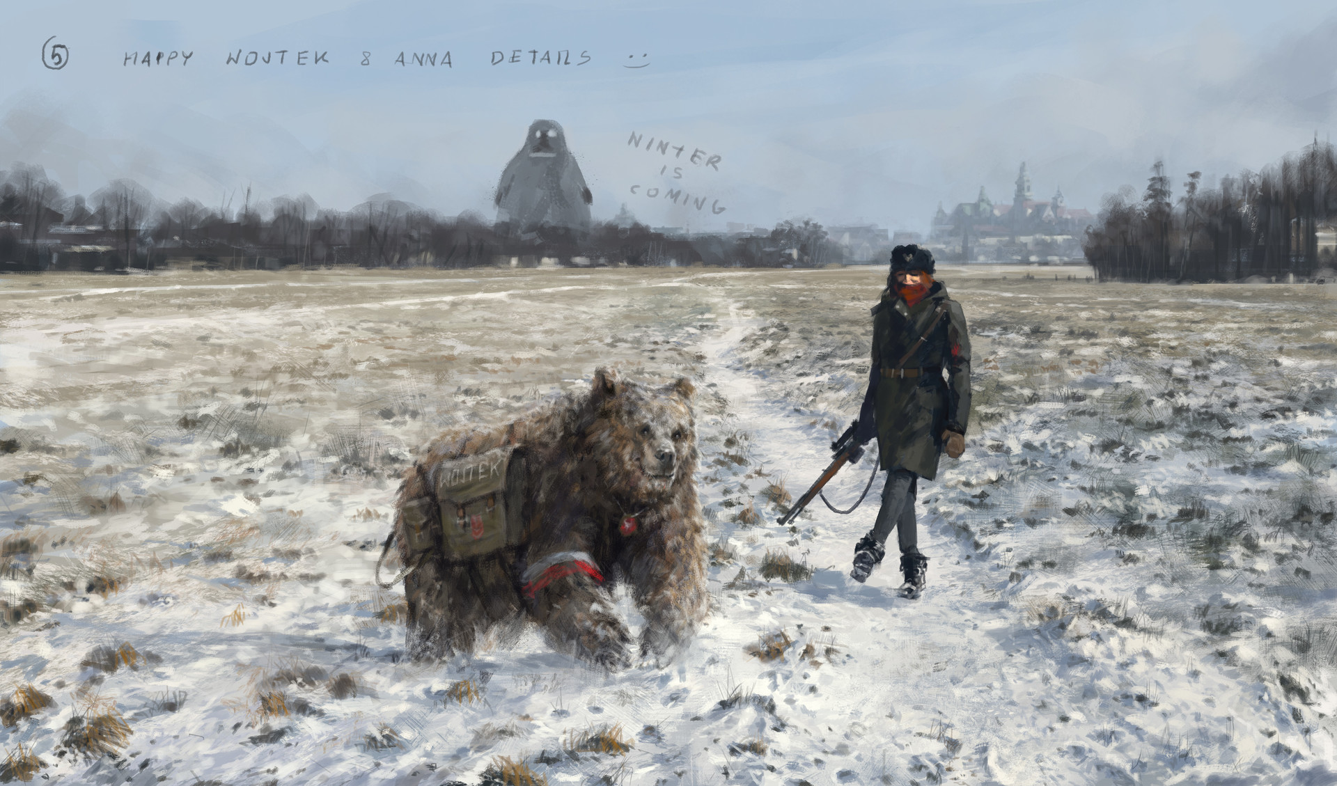 Jakub rozalski 1920 first snow blonie process05
