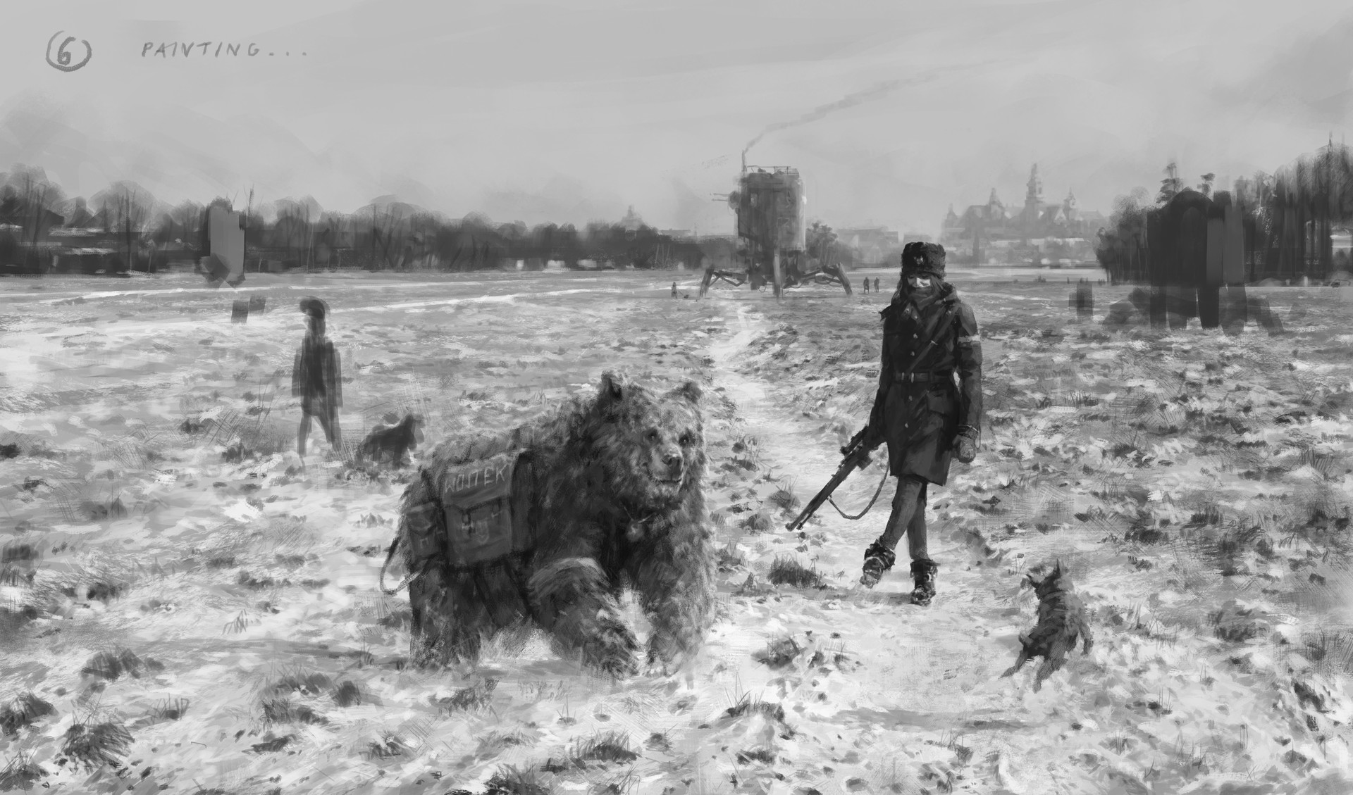 Jakub rozalski 1920 first snow blonie process06