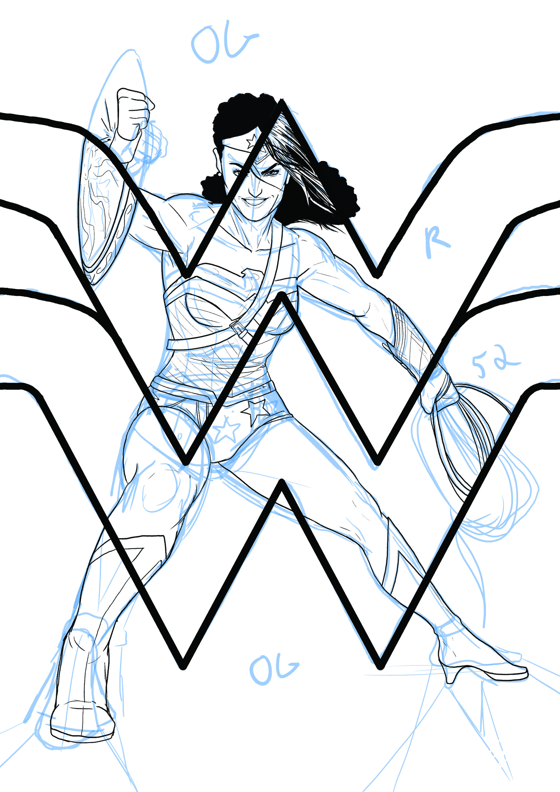 Elliot balson wonder woman 75th roughs inks