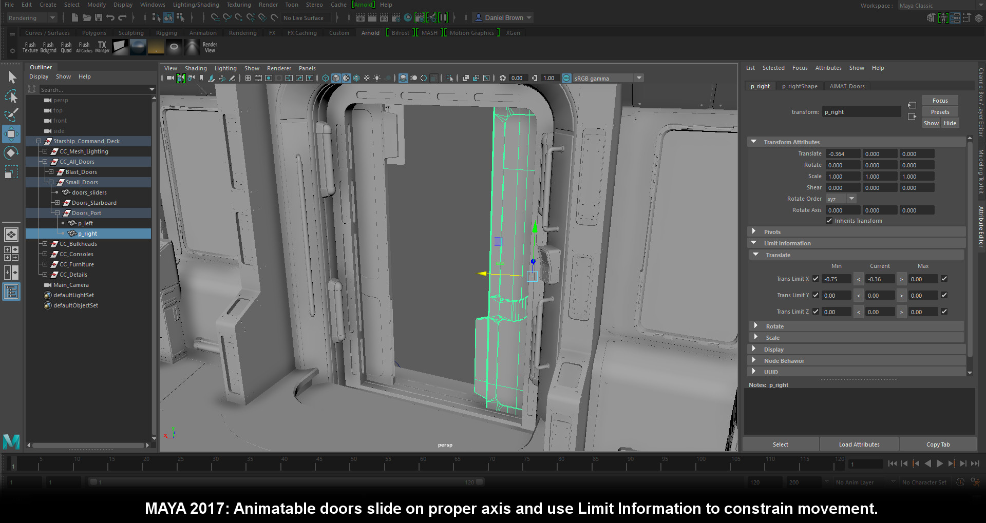 Maya 2017 version constraints for animating the small doors