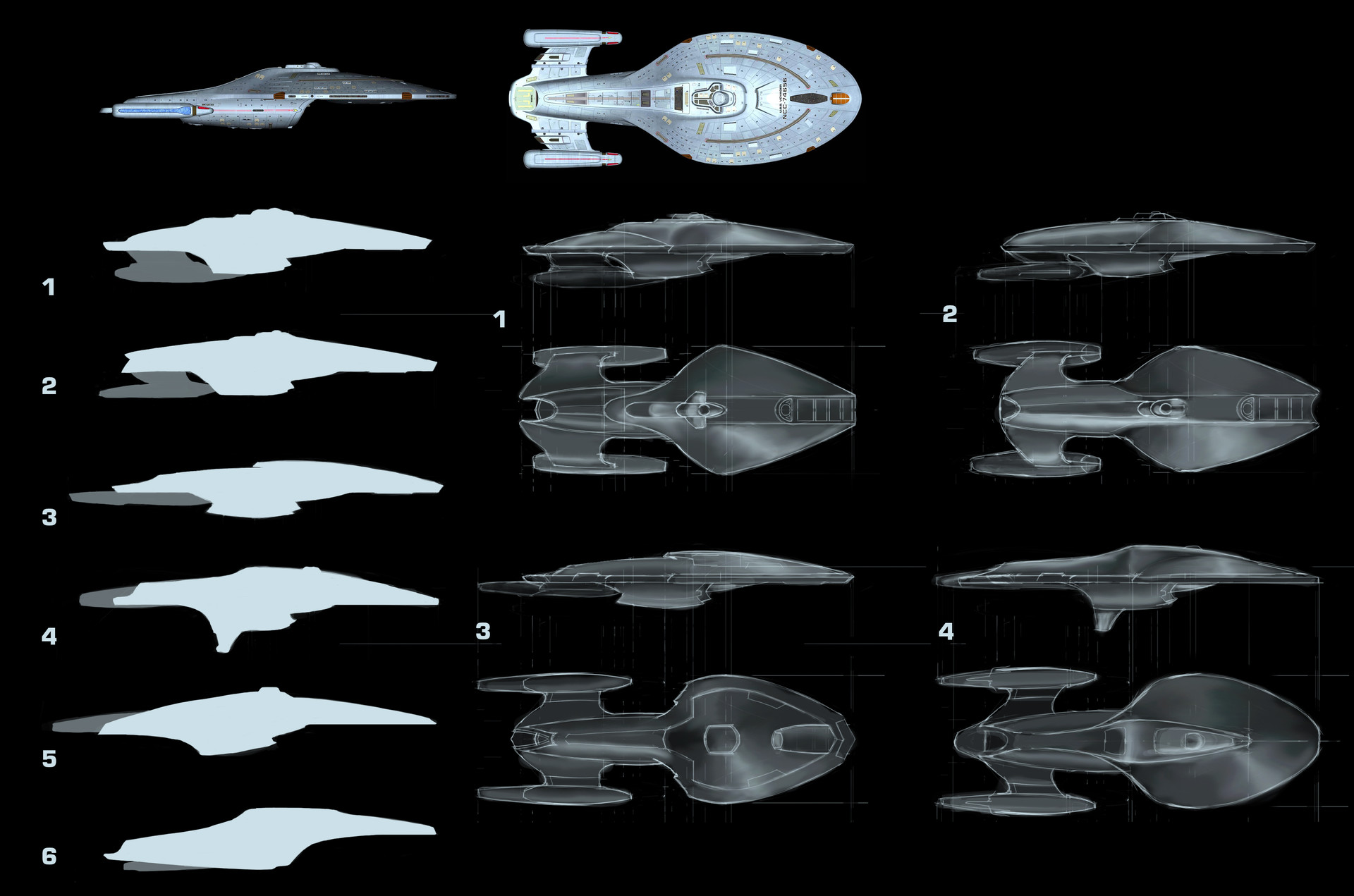 Rough concept explorations for the ship.
