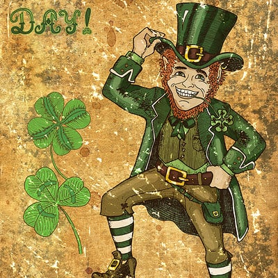 Vera petruk samiramay old card with leprechaun and clovers