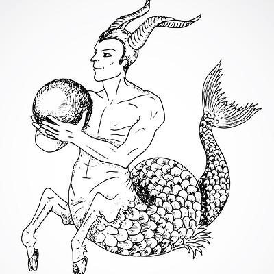 Vera petruk samiramay 10 hand drawn zodiac sign of capricorn or goat
