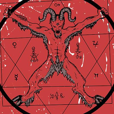 Vera petruk samiramay 9 devil with pentagram on red textured background